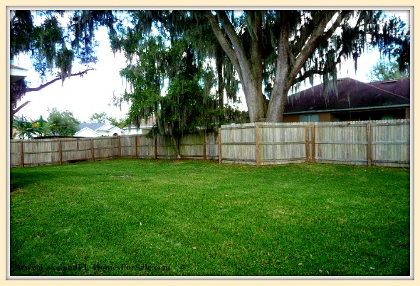 Have fun and relax outside the expansive fenced backyard of this Lakeland FL home for sale.